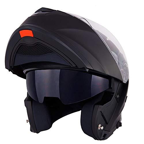 Vinz Santiago Klapphelm mit Sonnenblende | PINLOCK vorbereitet | Motorrad Helm Integralhelm | Motorradhelm | In Gr. XS-XL | Schwarz Matt