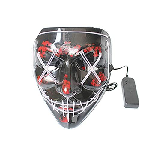 LXFENG Máscara de Halloween Mascarilla de Miedo con máscara Brillante, Vestidos de Lujo de Carnaval Party Party Men's y Las máscaras de iluminación de los niños de Las muje White