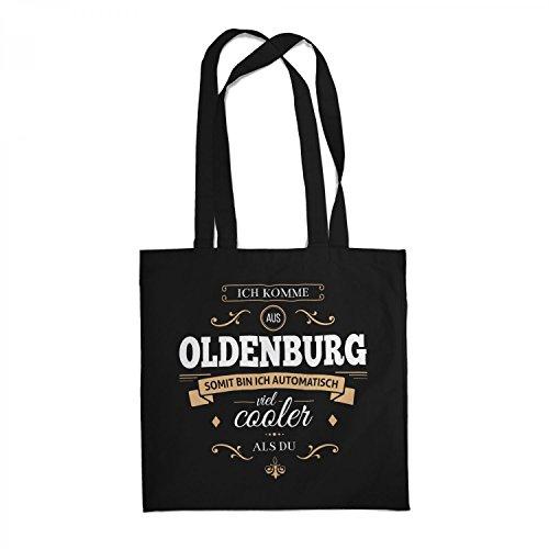 Fashionalarm Stoffbeutel - Ich komme aus Oldenburg - Bin viel Cooler als du | Beutel Baumwolltasche mit Spruch Geschenk Idee für stolze Oldenburger, Farbe:schwarz