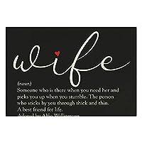 リネンPlaceMatsセット4、黒と白のスクリプト赤いハートの妻の定義ダイニングキッチンレストランテーブル農家の結婚式屋外屋内用滑り止めプレースマット