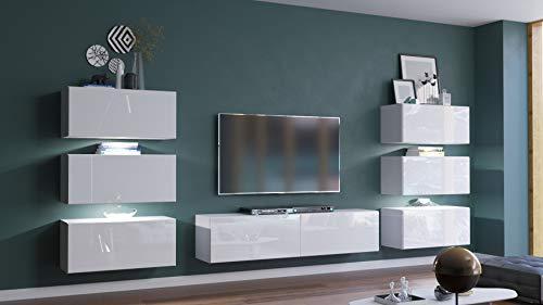 Home Direct Henri N72 Modernes Wohnzimmer Wohnwand Wohnschrank Schrankwand Möbel Mediawand (AN72-19W-HG2-1A (klein), Möbel ohne LED)