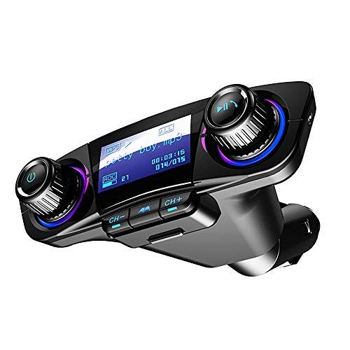 Transmisor FM Bluetooth Smart Chip de 4.0 con USB-C PD Fuente de alimentación de 18W Y QC3.0, la radio de coche Bluetooth Llamada/navegación móvil compatible con varios Aplicaciones