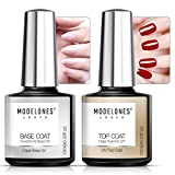 Modelones Top und Base Coat 2pcs Gel Nagellack Set, Soak Off LED Gel Nagellack mit No Wipe Top Coat Base Coat Nägel Maniküre Kit, Langlebiger Glanz für Nail Art 10ml
