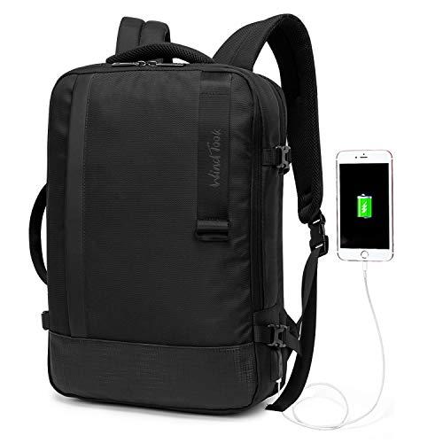 WindTook Herren Laptop Rucksack 15,6 Zoll Daypack mit USB-Ladeanschluss Anti-Theft, für Business Schule Uni, Schwarz