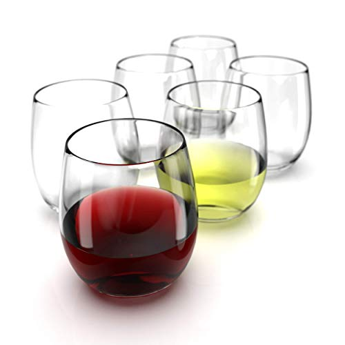 Chef's Star Stemless Wine Glasses Set of 6 - 15 0z. Oversized Wine Glass - Made from BPA-Free, Sturdy Glass - Dishwasher Safe - Perfect to Use As Red Wine Glasses or White Wine Glasses