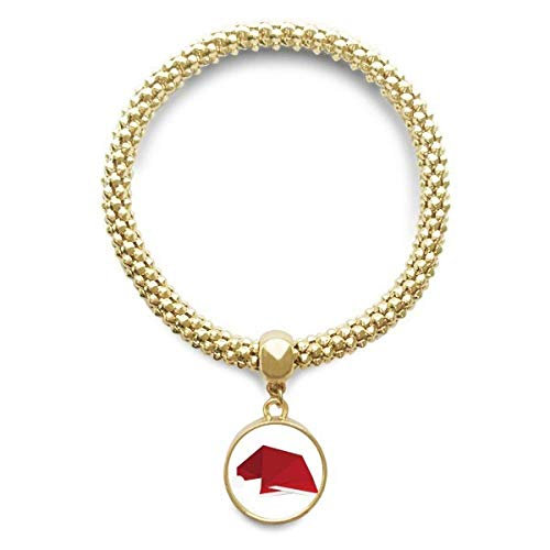 DIYthinker Damen Rot Abstract Christmas Hut Origami goldene Armband Laufende Anhänger Schmuck-Kette