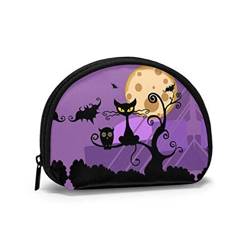 Nacht Halloween Mond Kratzbaum Kleine Geldbörse Geldbörse Tasche mi-NI Kosmetiktaschen Reißverschlusstasche Für Frauen