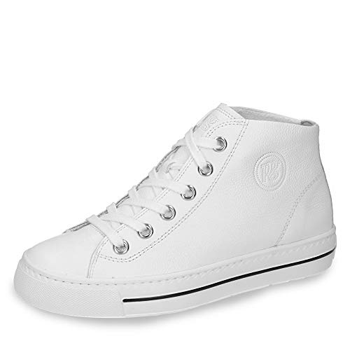 Paul Green 4735-014 Damen modischer Sneaker aus Glattleder mit Reißverschluss, Groesse 42, weiß