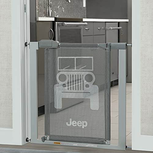 Delta Children Jeep Adjustable Baby and Pet Safety Gate by Easy Fit Pressure Mount Design with WalkThrough Door – Fits Openings Between 28.5 Inches 40 Inches Wide, Grey