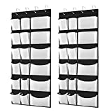Kootek 2 Pack Over The Door Shoe Organizers, 12 Mesh Pockets + 6 Large Mesh Storage Various Compartments Hanging Shoe Organizer with 8 Hooks Shoes Holder for Closet Bedroom, Black (59 x 21.6 inch)