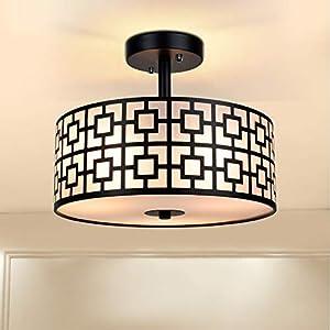 Modern Semi Flush Ceiling Light Fixture, 3-Light Bedroom Ceiling Drum Light, Entry Light Fixtures Ceiling Hanging for Dining Room, Kitchen, Hallway, Entry, Foyer, Living Room, Black Finish