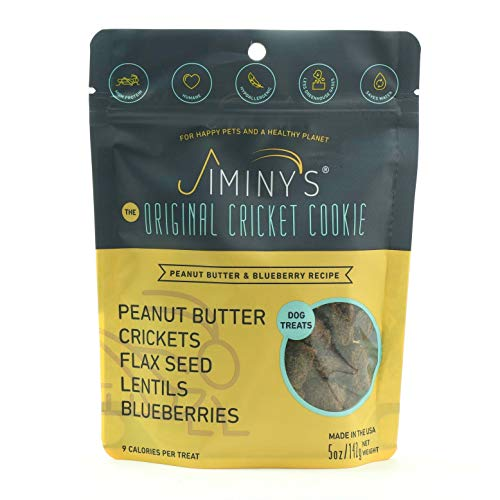 Jiminy's Cricket Protein Peanut Butter & Blueberry Cricket Cookie Treats   100% Made in The USA   Gluten-Free   Sustainable   Limited Ingredients   High Protein   Hypoallergenic