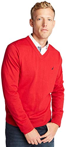 Nautica Men's Classic Fit Soft Lightweight Jersey V-Neck Sweater, Basic Red, M