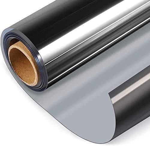 Vinilos para Ventanas Película de Ventana de Privacidad de Protección Solar Autoadhesiva, Película de Espejo Unidireccional Reflectante Anti-Calor UV para Hogar Oficina (Plata, 60x600cm)