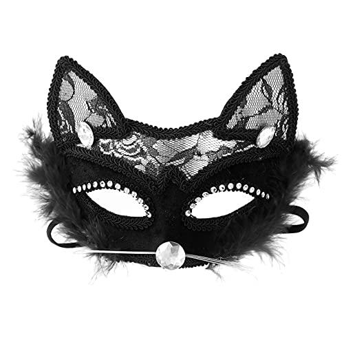 MSemis Antifaz de Gato Sexy Mujer Mscara de Encaje Negro Mscaras de Mascarada Veneciano para Fiesta de Carnaval de la Mascarada Negro Negro One Size