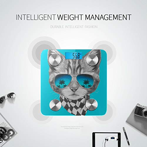 JXCSGBD Funny Cat Posing in Sunglasses Scale for Weight Bodyfat Scale Best Rated Bathroom Scales Tracks 8 Key Compositions Analyzer Sync with Fitness Apps 400 Lbs