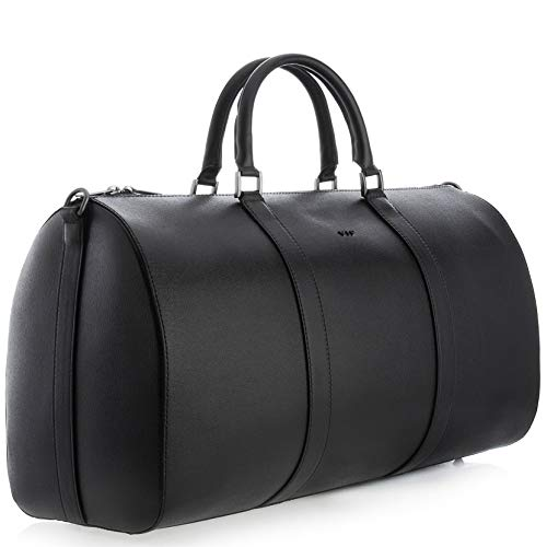Travel Bag, Real Leather Duffle Bag Large Size, Weekender Duffle Leather Bags for Men, Overnight Bag Airplane Luggage Carry-On Bag, by VIF(KAURI), Black
