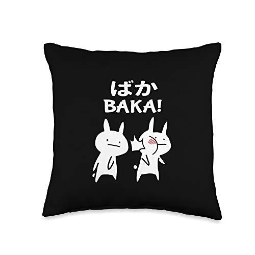 Japan Anime Baka Rabbit Slap Funny Japanese Anime Baka Rabbit Slap Throw Pillow, 16x16, Multicolor