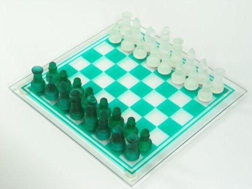 Dapo Schachbrett mit Glasfiguren und Glasplatte in weiß und grün 25x25cm Schachspiel Geschenk