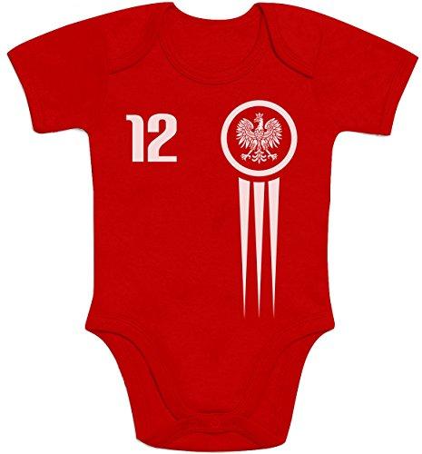 Shirtgeil Polen Polska Nationalmannschft Baby EM Trikot Fanshirt 12 Baby Body Kurzarm-Body 3-6 Monate Rot