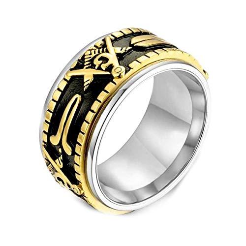 Gungneer Masonic Ring Stainless Steel Spinner Style Freemason Ring for Men