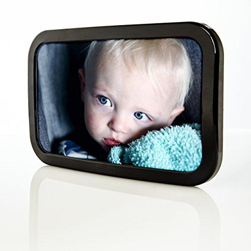 smileBaby verstellbarer Auto Babyschalenspiegel Rücksitzspiegel (25 x 15 cm, Schwarz)