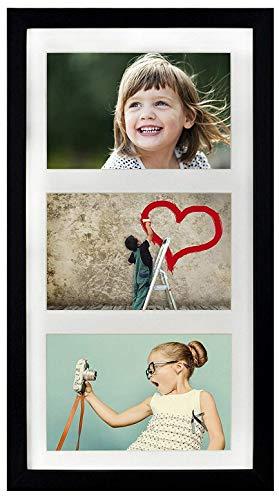 BD ART Cadre 18 x 35 cm Cadre Multi Photo pour 3 Photos 10 x 15 cm (Cadre triptyque), Noir