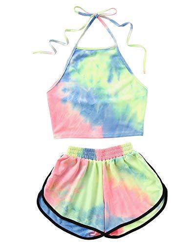 KIACIYA Shorts und Top Sets Zweiteiler Damen Sommer Teenager Mädchen 2 Teile Sommer Strand Tie Dye 3D Druck Beachwear Yoga Neckholder Rückenfrei Bauchfrei Crop Tops mit Sport Kurze Hose Set (Bunt,S)