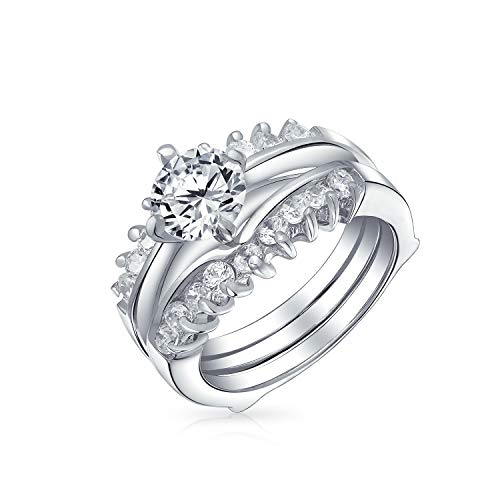 1CT Brilliant Cut Round Solitaire AAA CZ Band Inset Guard Enhancers Engagement Wedding Ring Set 925 Sterling Silver