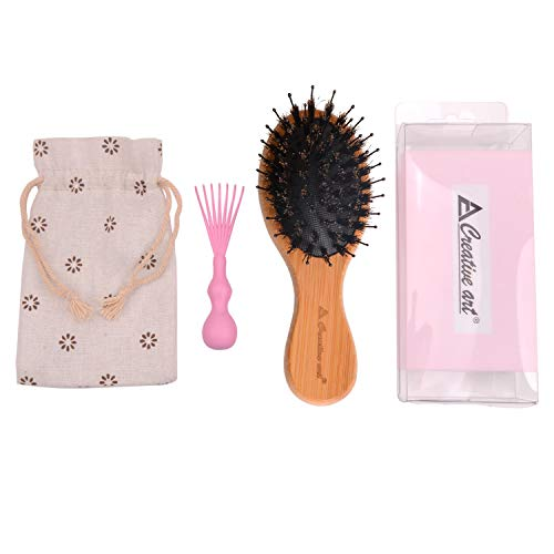 Boar Bristle Hair Brush With Soft Detangle Nylon Pins,Natural Bamboo Handle Oval Paddle Massage Hairbrush & Brush Cleaner Included, Best for Detangling & Styling All Hair Types (small)