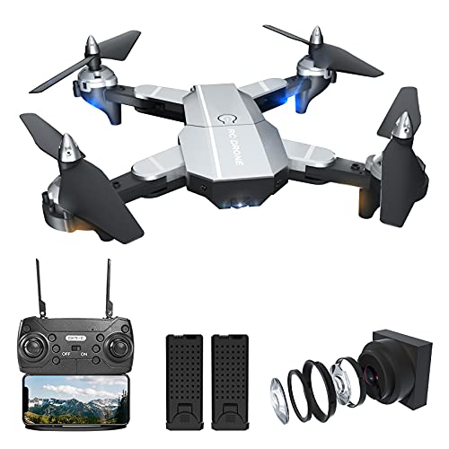 Fcoreey Drones with Camera 1080P HD FPV Live Video, RC Wifi Quadcopter with Gravity Sensor Mode Headless Mode, 3D Flips, Gesture Control One Key Function Includes Carrying Bag and 2 Batteries