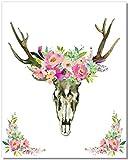 Boho Wall Decor - Bohemian Pink Floral Skull Watercolor Art Print - 11x14 - Unframed