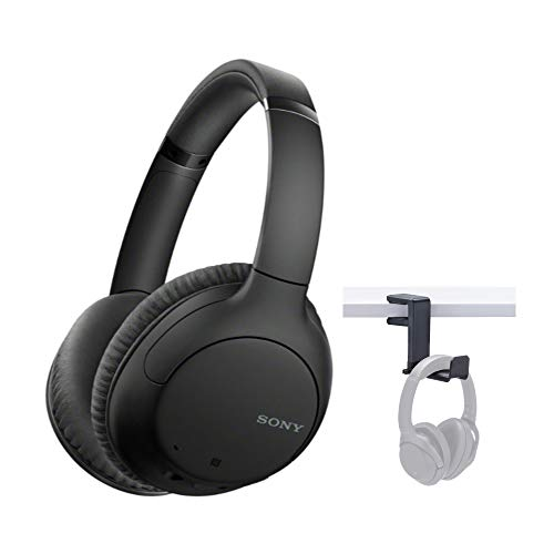Sony WHCH710N Wireless Bluetooth Noise Canceling Over-The-Ear Headphones (Black) with Knox Gear Headphone Hanger Mount Bundle (2 Items)