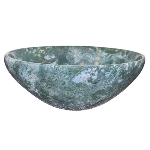 YATHABI Moss Agate Gemstone Carved Bowl for Chakra Balancing Reiki Healing Energy Generator EMF Protection Aura Cleansing Spiritual Crystal Healing Devotional Home Decor Size: 2.5-3 Inch