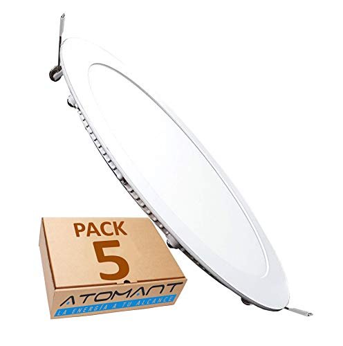 Pack 5x Panel LED redondo plano, 18W. Color Blanco Frío (6500K). 1600 lumenes. Driver incluido. Corte standard 200mm.