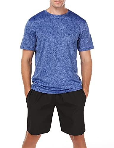 Wayleb Kurzer Sportanzug für Herren Trainingsanzüge Fitness Sportbekleidung 2-Teiliges Sommersportanzug T-Shirts + Kurze Hose Sets Freizeitanzug Blau XL