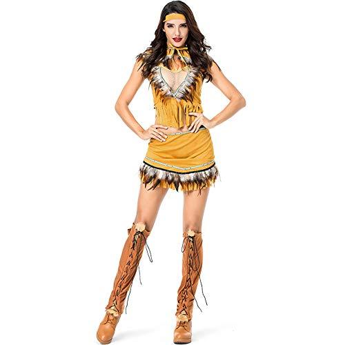 COSOER Disfraz De Cosplay Indgena Ropa De Jefe De Nia India Ropa De Fiesta De Halloween,Yellow-XL