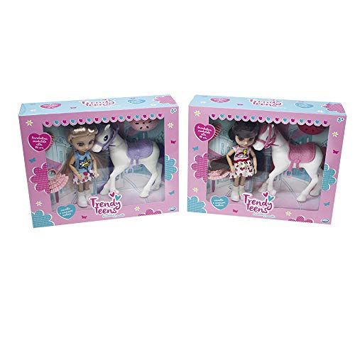 ODS 44652 Trendy Teens Mini muñeca articulada a Caballo con Accesorios