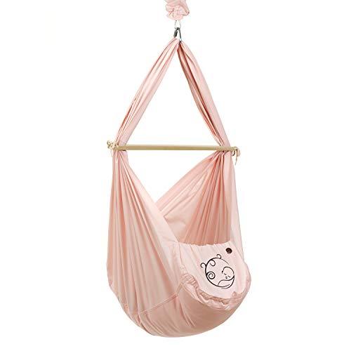 NONOMO Baby Federwiege Set 100% Bio Baumwolle mit Kunstfaser-Matratze und Deckenbefestigung in rosé