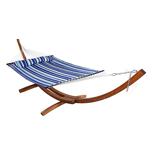 Sunnydaze Quilted Double Fabric 2-Person Hammock with 13 Foot Curved Arc Wood Stand, Catalina Beach, 400 Pound Capacity
