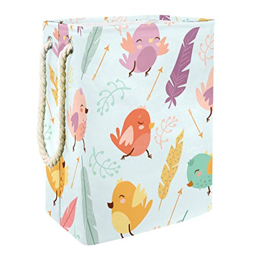 Lurnies Cartoon Birds Feathers Storage Containers Collapsible with Handle for Baby Blanket clothes/Kids Toy storage 49x30x40.5 cm
