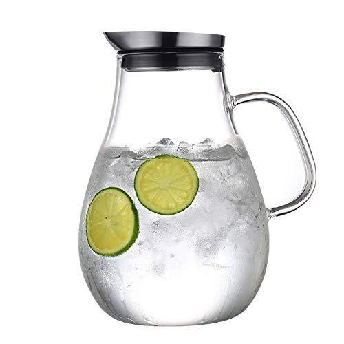 NNDQ 2,5-Liter-Glaskrug mit Deckel, Wasserkaraffe, Aufsatztresor - hitzebeständiges Borosilikat-, Heiß- und Eistee-Wassersaftgetränk