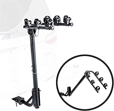 "KAC S3 1.25"" and 2"" Hitch Receiver 3-Bike Capacity Hanging Bicycle Carrier - Hitch Mounted - Adapter Included - Double Folding, Smart Tilting Design – RV Use Prohibited"