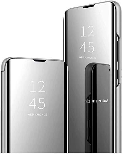 Funda compatible con Samsung Galaxy A40S funda Mirror Flip Standing Clear Carcasa Ultradünne durchscheinende View Espejo Handyhülle Hardcase PU Lederhülle Anti-Kratzschutz plata 6 1/2 HS