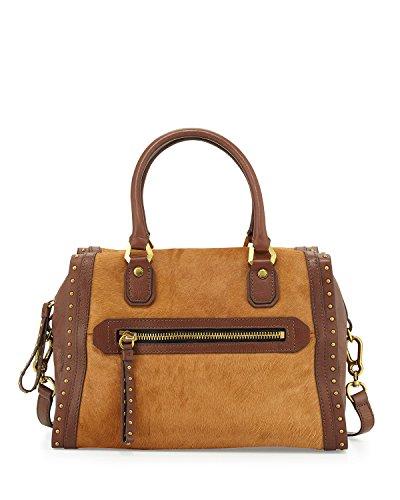 OrYANY Brenda Studded Calf-Hair Convertible Satchel Bag, Chestnut Brown