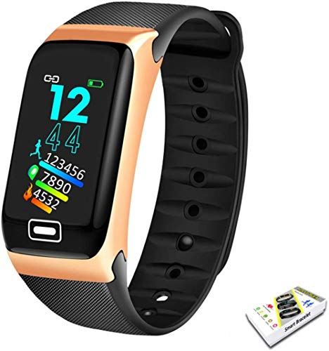 AMBM Smart Watch Sport Smart Band Blood Pressure Monitor Smart Wristband SmartWatch Wristband for Men Women (Color: Silver Black)-Gold Black