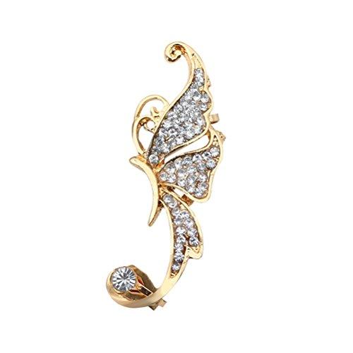 TENDYCOCO Ear Clip Rhinestone Crystal Butterfly Ear Cuff Clip Cartílago Ear Cuff para Mujeres (Blanco)