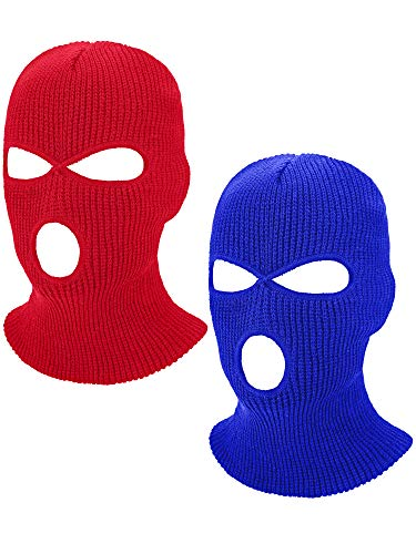 2 Pieces Knitted Full Face Cover 3-Hole Ski Mask Winter Balaclava Face Mask (Royal Blue, Red, Adult Size)