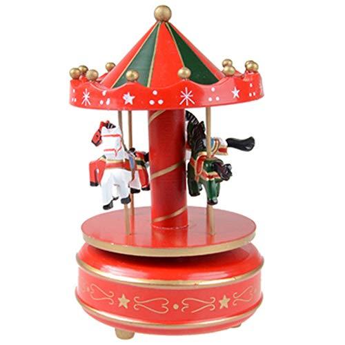YUNLAN Caja de música de Madera de Merry-girando Decoración Carrusel Caballo Caja de música Navidad Boda Regalo de cumpleaños Caja de música (Color : 04)