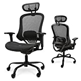 Komene オフィスチェア 人間工学椅子 デスクチェア 135度リクライニングチェア 3Dアームレスト付き 通気性抜群 全メッシュチェア 調節可能ヘッドレスト ハイバック テレワークチェア 事務椅子 最大荷重135kg 事務用 ・自宅用に最適 (黑)